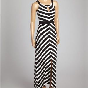 Anne French black/ivory stripe dress
